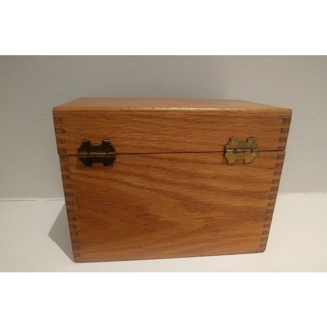 Vintage Golden Oak Wooden Index Box - Image 4 of 7