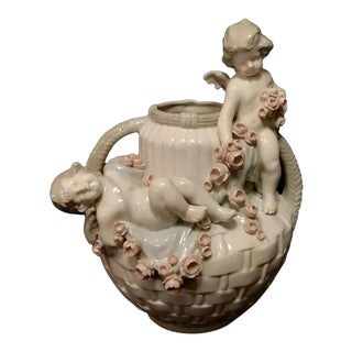 Antique Czech Amphora Putti Cherub Vase For Sale
