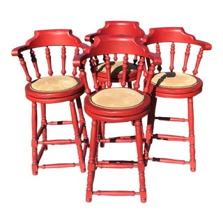 Red Distressed Captains Armchair Swivel Barstools - Set of 4 For Sale
