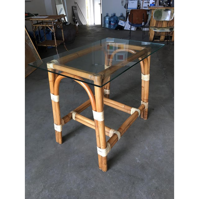 """Restored """"Swoop Arch"""" Rattan Side Table With Glass Top For Sale - Image 4 of 6"""