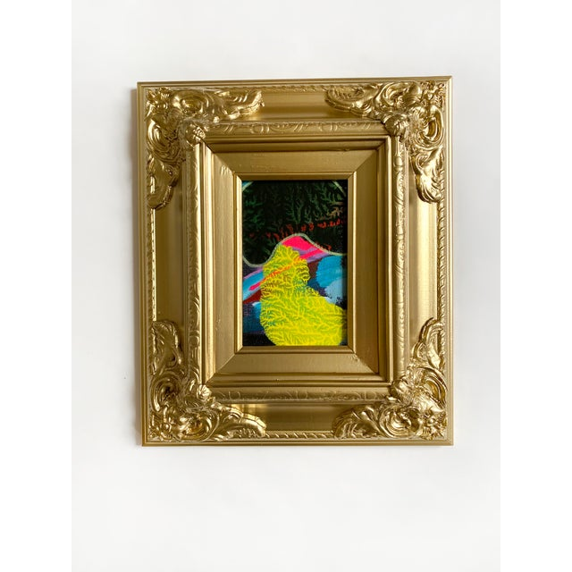 Green Shadow Mini Painting With Ornate Gold Frame For Sale - Image 4 of 4