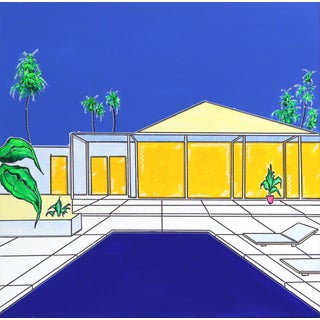 ''Palm House'' Contemporary House Portrait Acrylic Painting by Jonjo Elliott For Sale