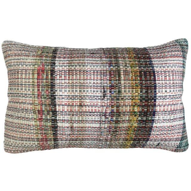"Cotton Kilim Lumbar Pillow -- 12x20"" For Sale"