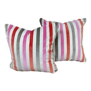Tobi Fairley Duralee Cut Velvet Stripe Throw Pillows - a Pair For Sale