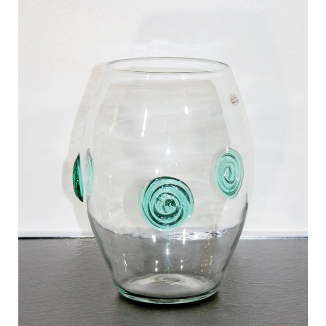 Contemporary Blenko Mid-Century Modern Clear Handcrafted Glass Vase For Sale - Image 3 of 6
