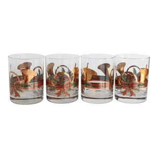 Culver Christmas Yule Horn Glasses - Set of 4