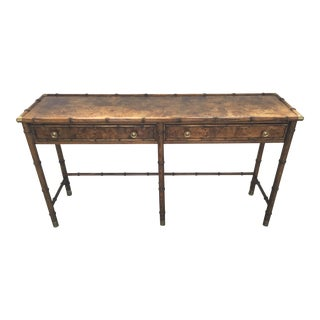 Hekman Burled Campaign Style Console For Sale