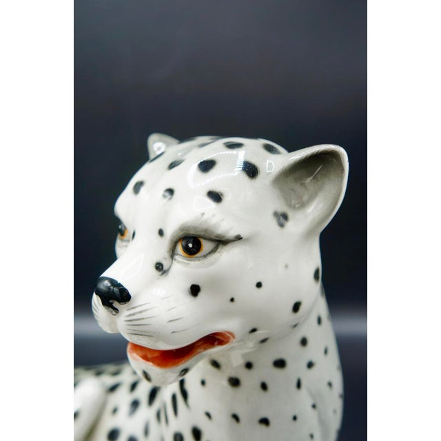 Italian Hand-Painted Snow Leopards For Sale - Image 9 of 11