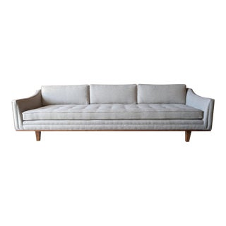 Mid Century Style Cream Sofa with Walnut Trim For Sale