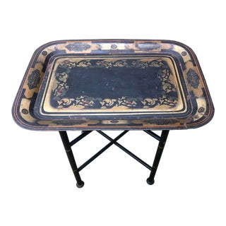 Early 19th Century Hand Stenciled Tole Tray Table For Sale