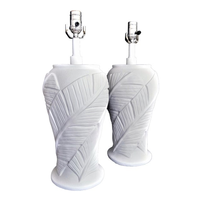 White Plaster Palm Banana Leaf Lamps in the Style of Serge Roche - a Pair For Sale
