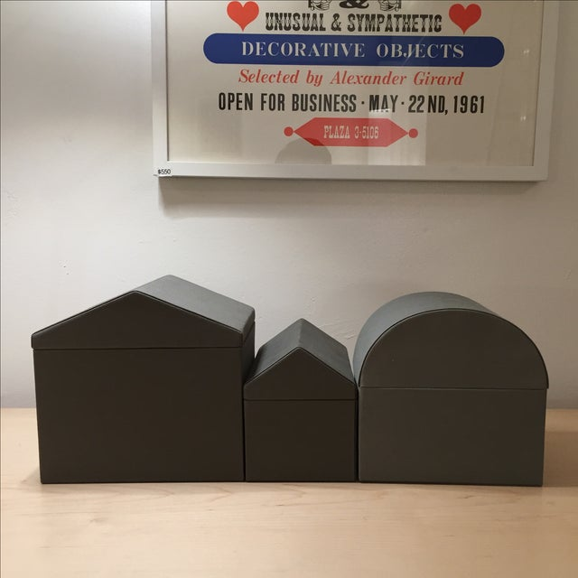 Danish Modern Gray Architectural Boxes - Set of 3 - Image 3 of 6