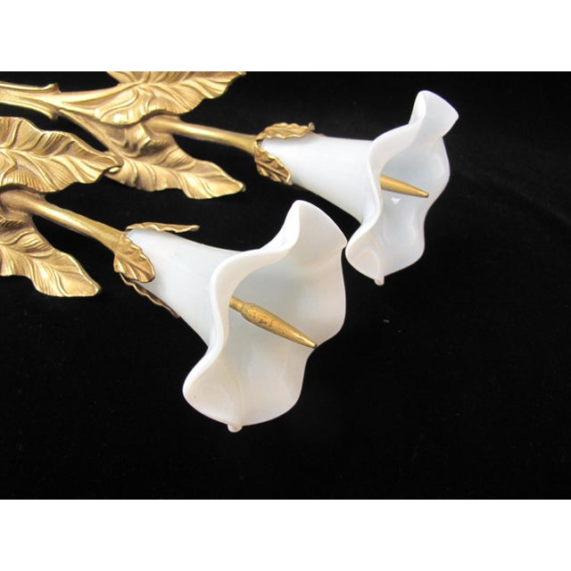 Art Nouveau Antique French Lily Flower Opalescent Glass Curtain Tie Backs - a Pair For Sale - Image 3 of 6