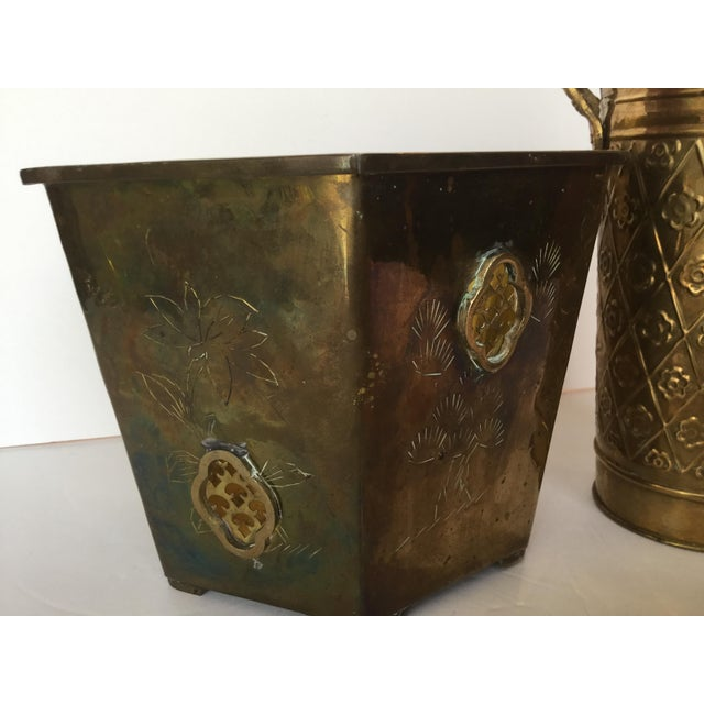 Brass 1980s Vintage Brass Planters - A Pair For Sale - Image 7 of 10