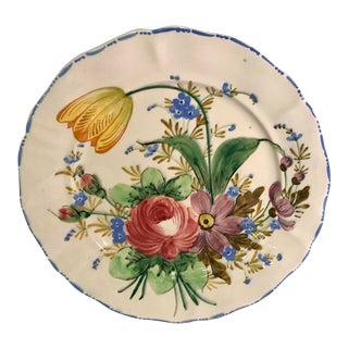 1930s Italian Faience Nove Rose Floral Platter For Sale