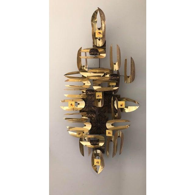 1960s Brutalist Gold Enamel Metal Wall Art | Chairish