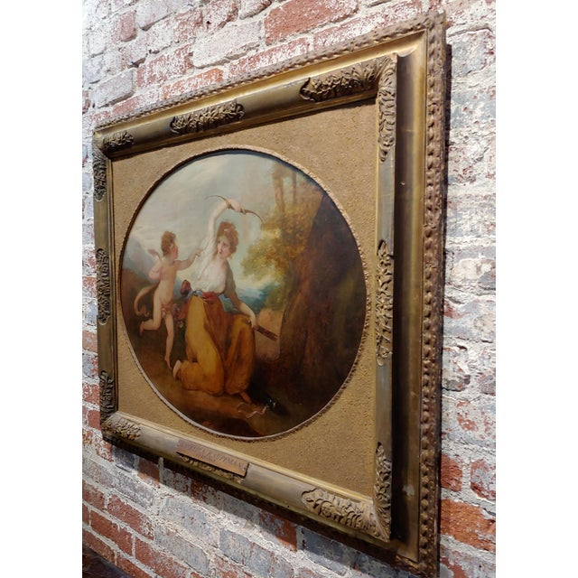 Canvas 18th Century Neoclassical Oil Painting, Cupid & A Goddess For Sale - Image 7 of 9