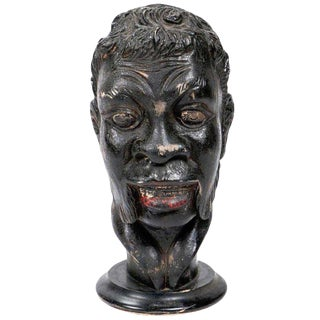 Venetian Carved Wood Portrait Bust of a Blackamoor For Sale
