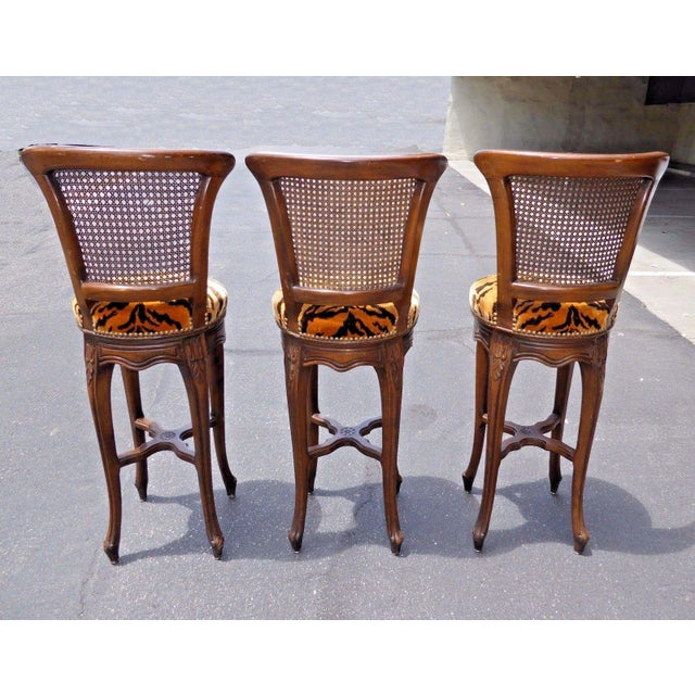 Vintage French Country Wood & Cane Barstools - Set of 3 - Image 6 of 11