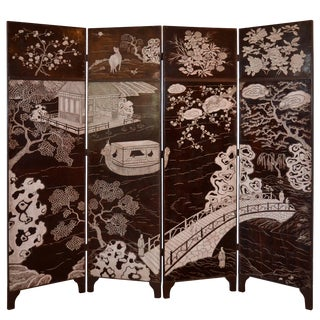 Coromandel Four-Panel Screen in Brown and White