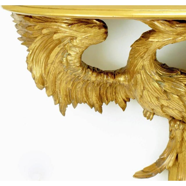 Early 20th Century Italian Giltwood Phoenix Wall Mounted Console and Mirror For Sale In Chicago - Image 6 of 11