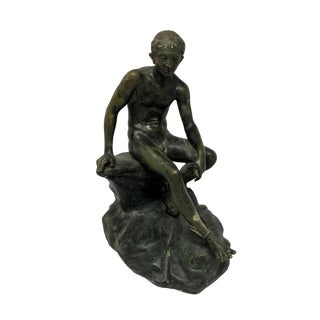 Late 19th Century Antique Grand Tour Roman Bronze Boy Seated on Rock Sculpture For Sale