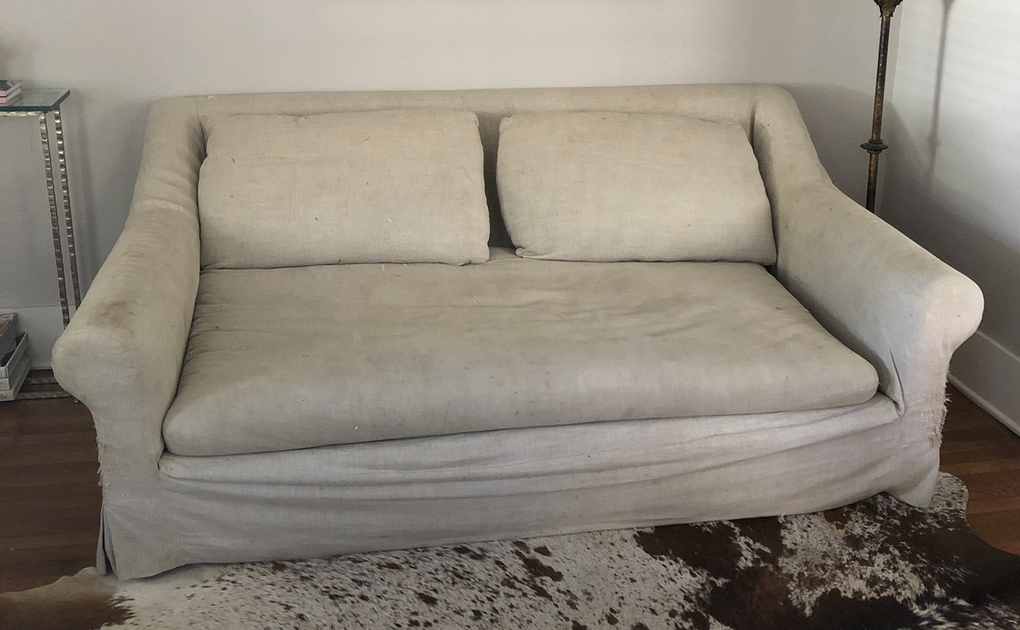 Restoration Hardware Belgian Roll Arm Slipcovered Sofa   Image 4 Of 4