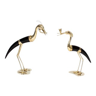 Faux Horn and Metal Heron Form Candlesticks - A Pair For Sale