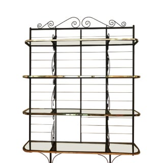 1980s French Provincial Black Wrought Iron Baker's Rack For Sale