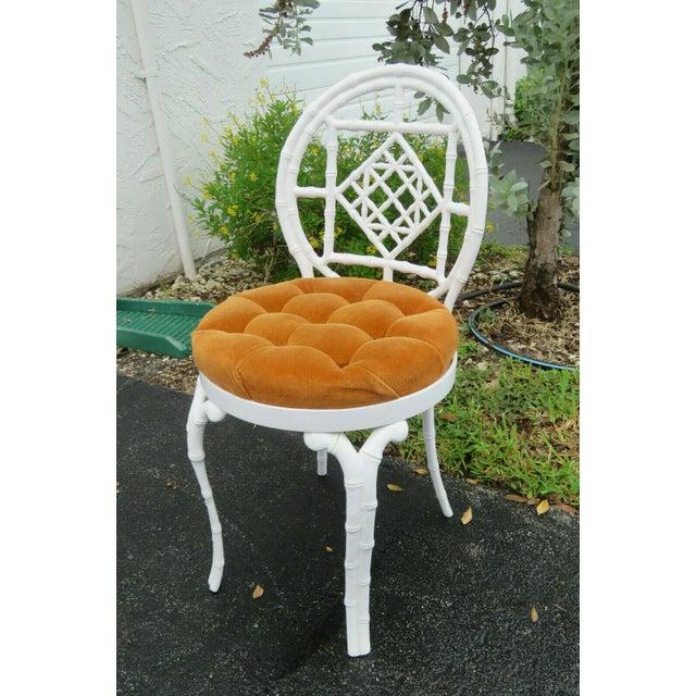 Kessler Industries 1970s Vintage Hollywood Regency Painted Iron Faux Bamboo Side Chair Stool by Kessler For Sale - Image 4 of 13