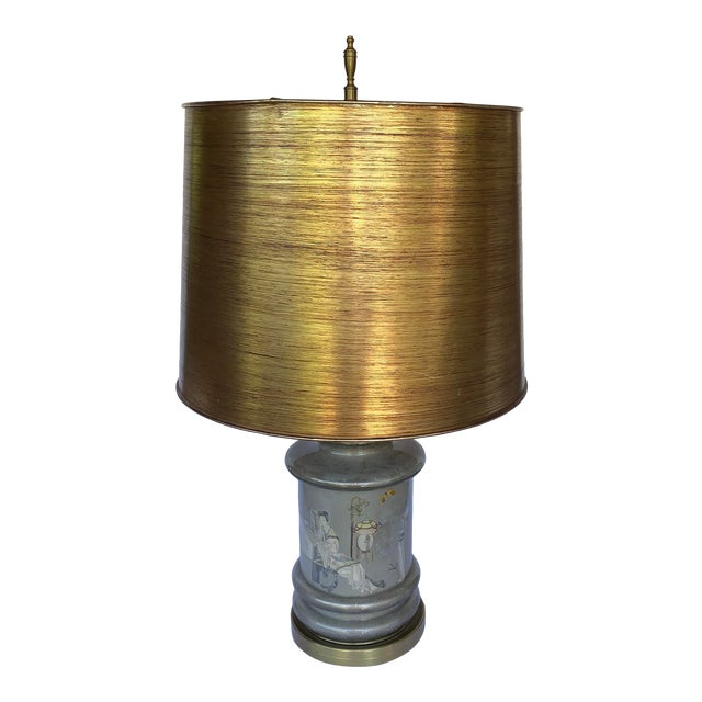 Chinese Motif Ceramic & Brass Table Lamp For Sale