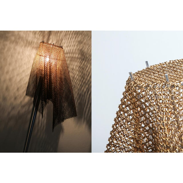 """Bronze Artemide Chain Mail Table Lamp """"Anchise"""" by Toni Cordero For Sale - Image 7 of 10"""