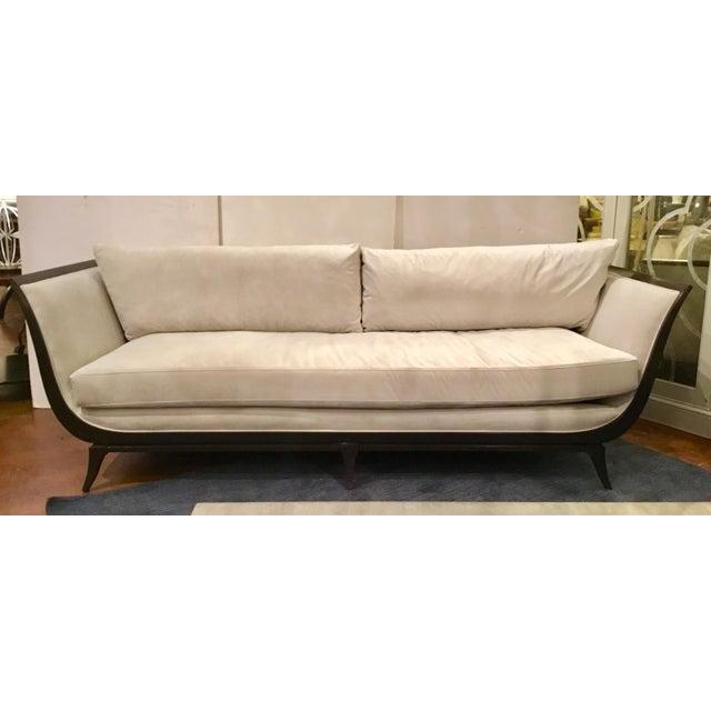 Stylish Caracole Modern Love A-Flair Velvet Sofa, black wood frame Upholstered in an oyster velvet fabric, showroom floor...