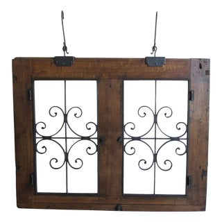 Circa 1860 Antique Wrought Iron & Wood Hanging Window For Sale