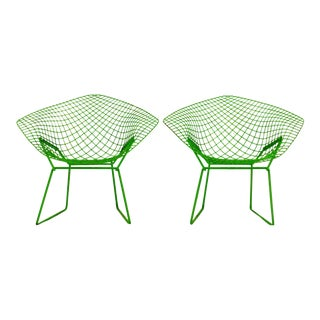 Vintage Green Harry Bertoia for Knoll Diamond Chairs - a Pair For Sale