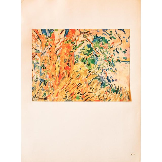 "Orange 1948 Maurice De Vlaminck, Original Period Lithograph ""The Plane Trees"" For Sale - Image 8 of 8"