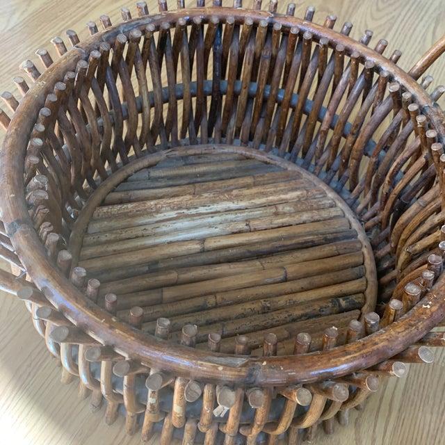 Wood Vintage Primitive Handmade Wooden Basket For Sale - Image 7 of 9