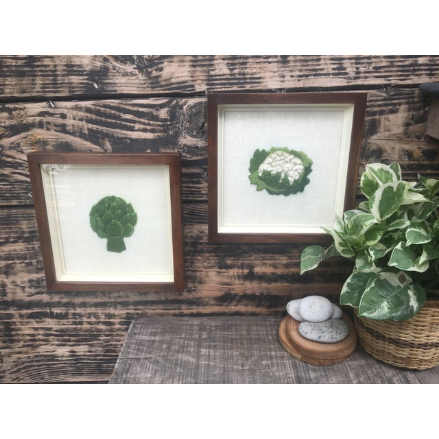 Framed Boho Chic Crewel Embroidered Artwork of Veggies - A Pair For Sale - Image 4 of 8