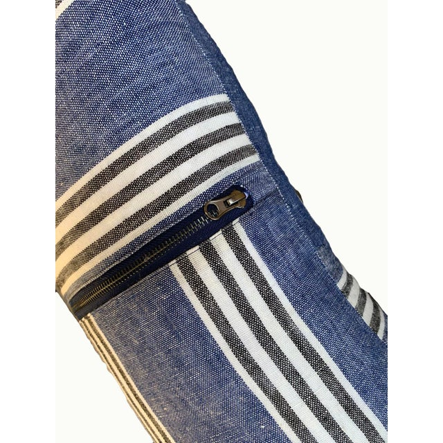 Country Country Blue Linen Striped Lumbar Pillow For Sale - Image 3 of 6