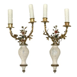 French Enameled Bronze and Carved Wood Sconces - a Pair For Sale