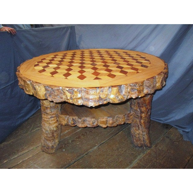 "The best in a rustic dining table with an inlaid top in the ""tumbling blocks"" pattern. There are at least 3 different..."