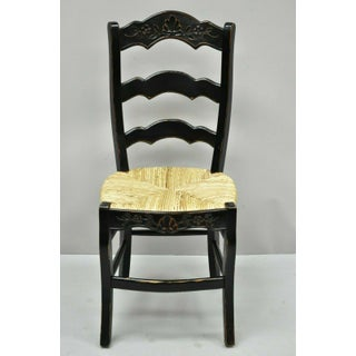 Vintage French Country Rush Seat Ladder Back Black Shell Carved Dining Side Chairs-Set of 4 Preview