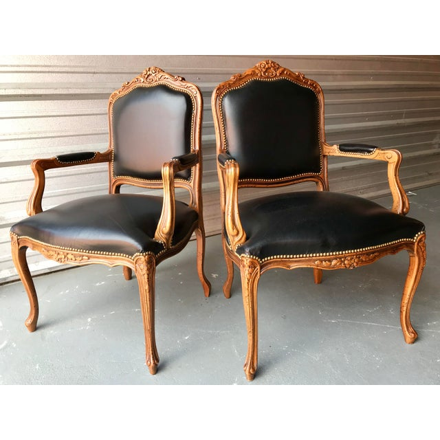 Brown Chateau d'Ax French Country Louis XV Style Italian Armchairs - a Pair For Sale - Image 8 of 8