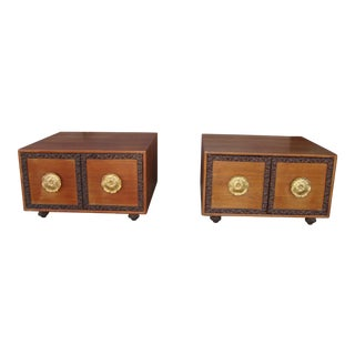 1970s Mid Century Nightstands with Gold Hardware - a Pair For Sale