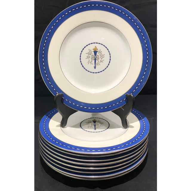 "Mid 19th Century Minton ""Torch and Ribbon"" Blue Presentation Dinner Plates - Set of 10 For Sale - Image 10 of 10"