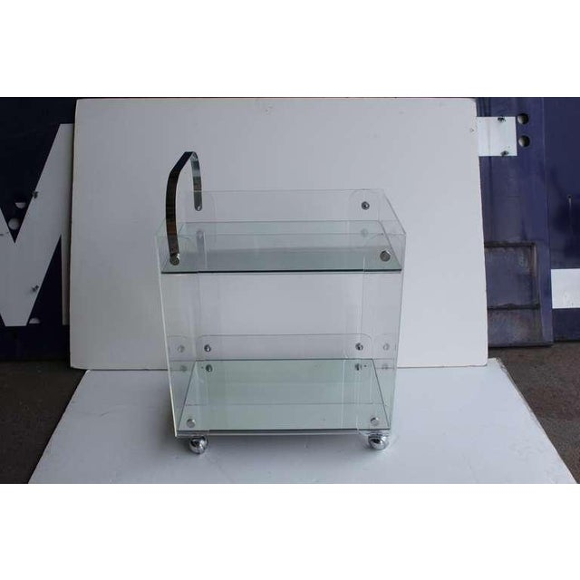 Vintage Mid Century Lucite Tea Cart For Sale - Image 4 of 4