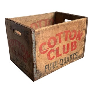 1950's Cotton Club Whiskey Wood Bottle Crate Stenciled For Sale