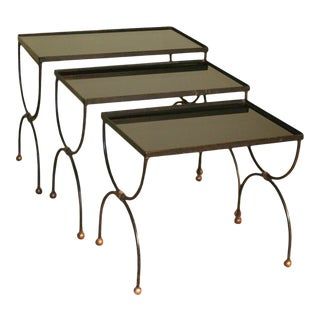 Mid-Century French Nesting Tables in the Style of Jean Royère - Set of 3 For Sale
