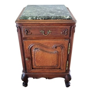 19th Century French Provincial Louis XV Carved Oak & Verde Marble Bedside Table For Sale