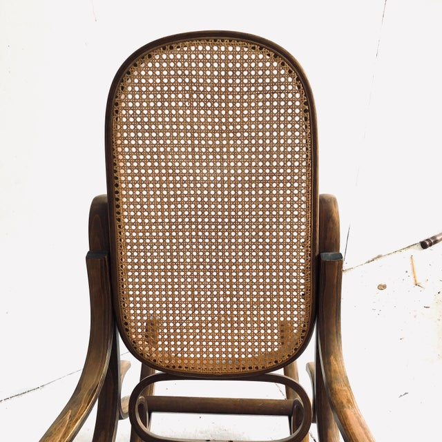 Wood Bentwood and Caned Rocking Chair Thonet Style For Sale - Image 7 of 8